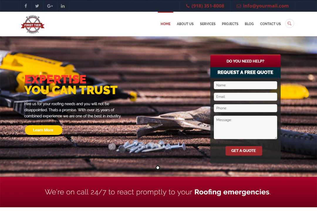 Firsttierroofing.com (Roofing Service Website)